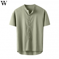 Womail Men Shirt New Short-sleeved Top Baggy Cotton Linen Solid Button Shirts Daily Beach high quality summer Fashion M-3XL