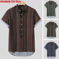 Striped Buttons Shirts 2019 Men Summer Fly Breathable Short/Long Sleeve Loose Casual Henley Shirts Plus Size Herren Freizeithemd