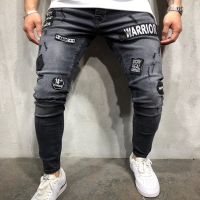 NEW 2019 fashion men's hole embroidery jeans Hip-hop slim men jeans