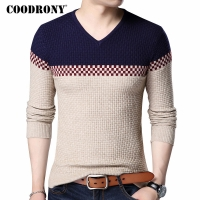 COODRONY 2020 Autumn Winter Warm Wool Sweaters Casual Hit Color Patchwork V-neck Pullover Men Brand Slim Fit Cotton Sweater 7155