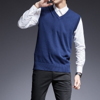 2019 New Fashion Brand Sweater For Mens Pullovers Sleeveles Slim Fit Jumpers Knit Thick Autumn Korean Style Casual Men Clothes
