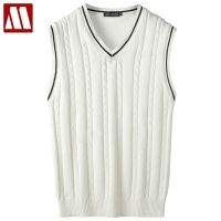 2019 Spring Men's Fashion Boutique Knit Tanks Leisure V-neck Sleeveless Sweaters Male Slim Business Casual Knitting Cotton Vest