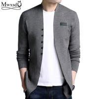 Mwxsd Brand 2019 Middle-Long length Mens Solid Sweater Cardigan Trench Male Casual Autumn pure color  cardigan sweater