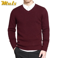 2019 Mens Pullovers Sweaters Basic Style V neck Sweater Cotton Knitted Jumpers Solid Male Knitwear Navy Red Black Plus Size 4XL