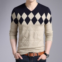 2018 Cashmere Wool Sweater Men Autumn Winter Slim Fit Pullovers Men Argyle Pattern V-Neck Pull Homme Christmas Sweaters