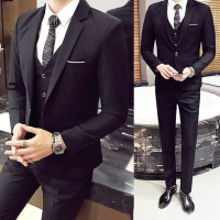 New  (Jacket+Pant+Vest)  3Pcs/Set Luxury Plus Size Men Formal Business Vest Jacket Tuxedo Wedding Suit Formal Blue Classic Black