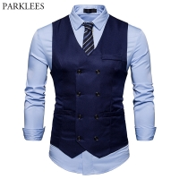 New Double Breasted Suit Vest Men Gilet Homme Costume 2018 Brand Slim Fit Sleeveless Waistcoat Mens Foramal Weeding Dress Vests