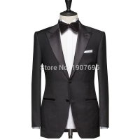 Tailor Made Black Slim Fit Men Suits for Wedding Prom Groom Tuxedos Peaked Lapel Man Suit Set Custom 2 Piece Jacket Pants