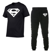 Superman Shirts Hot Sale Men Sets pants + T- Shirts Two Pieces Sets Casual Tracksuit Male T-shirt Gyms Fitness trouser