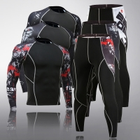 Men's Thermal Underwear Set Long Sleeve Fitness Tights Sportswear Compression Elastic Track and Field Running Wear Men's suit
