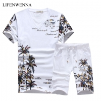 2019 New Fashion Summer Short Sets Men Casual Coconut Island Printing Suits For Men Chinese Style Suit Sets T Shirt +Pants 5XL