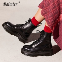 Baimier Black Patent Leather Ankle Boots For Women Lace Up Platform Boots Women Winter Warm Plush Women Boots Street Style Shoes