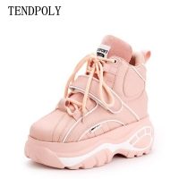 New women's boots Super fire fashion high-top Height increasing casual women Booties autumn winter thick-soled Female sneakers