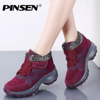 PINSEN New 2020 Women Snow Boots High Quality Winter Warm Push Ankle Boots Women Platform Female Wedge Waterproof Botas Mujer