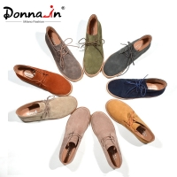Donna-in Ankle Boots for Women Martin Boots Genuine Leather Shoes Flat Casual Booties Woman 2020 Spring Lace up Plus Size Ladies