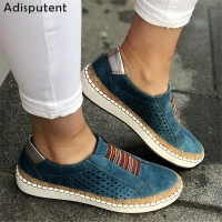 ADISPUTENT Leather Loafers Casual Shoes Women Slip-On Sneaker Comfortable Loafers Women Flats Tenis Feminino Zapatos De Mujer