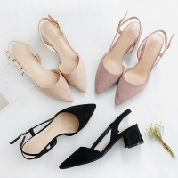Hot Square High Heels Female Shoes Woman 2020 Flock Ankle Straps Slingback Women Office Career Sandals Casual Nude Wedding Pumps