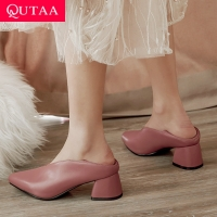 QUTAA 2020 Women Pumps Fashion Mules Women Shoes Square High Heel Pointed Toe Pu Leather Casual Classic Ladies Pumps Size 34-43
