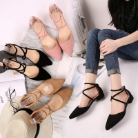 Women's Shoes 2019 New Fashion Casual Point Toe Buckle Strap Square Heel Sandals Med Heel Shoes Female Sexy Party Sandals