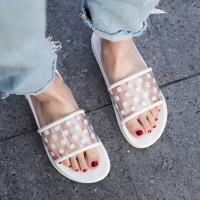 Summer Slippers sandals Shoes Woman 2020 Polka Dots Transparent open Toe Flip Flops Clear Women Outdoor Flat Beach Slides