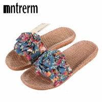 Xiuteng 2018 Hot Marketing Summer Bathroom Slipper Indoor Home Women Shoes Hemp Sandals Flower decoration shoe girl