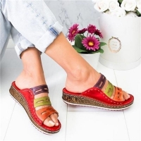 Wedge Heel Slipper 2019 Summer Women Lady Retro Stitching ColorCasual Low  Beach Open Peep Toe Sandals 3 colors Shoes Slides