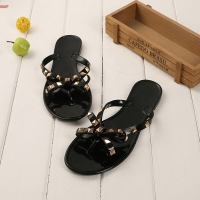 ZHENZHOU 2019 fashion women sandals flat jelly shoes bow V flip flops stud beach shoes summer rivets slippers Thong sandals nude