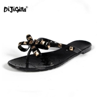 DIJIGIRLS Women Rivets Bowknot Flat Slippers Girls Flip Flops Summer Shoes Cool Beach Jelly Shoes Dropshipping dropshipping