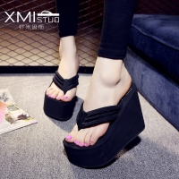 XMISTUO Increased 12cm slope with thick crust muffin waterproof sandals and slippers slip female high with the simple flip-flops