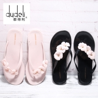 DUDELI  Women Sandals Flats Slipper Shoes Female Flower Flip Flops Floral Jelly Summer Beach Indoor PVC Supersta Flat Slides