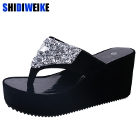Summer Women's Shoes Rhinestone Woman Flip Flops Wedged Platform Designer Shoes Woman Beach Slippers Zapatos Mujer m769