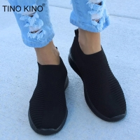 TINO KINO Women Flat Knitting Autumn Sneakers Shoes New 2019 Plus Size Female Mesh Vulcanized Ladies Slip On Breathable Casual