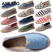 ASILETO 2019 New Arrival Black Retro Vintage Ladies Womens Casual Espadrilles Shoes for Female Unisex Larger Size Breathable