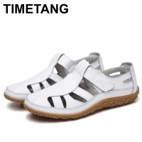 TIMETANGHollow Woman Shoes Genuine Leather Women Flats Summer Women's Loafers Breathable Beach Female Shoe Large Size 35-42E357