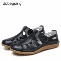 dobeyping Hollow Woman Shoes Genuine Leather Women Flats Summer Women's Loafers Breathable Beach Female Shoe Large Size 35-42