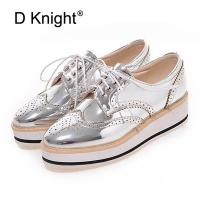 Vintage Women's Casual Oxfords Shoes Plus Size 34-43 Carved Bullock Shoes Woman Bright Patent Leather Flat Platform Brogue Shoes