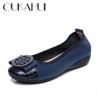 OUKAHUI Special Offer Genuine Leather Women Ballet Flat Shoes With Women'S Slip-On Soft Metal Decoration Boat Shoes Women Flats