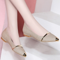 2020 Summer Ladies Flats Shoes Women Shoes Pearl Comfortable Pointed Toe Flat Shoes Gold Silver Female Casual Woman Boat Shoes