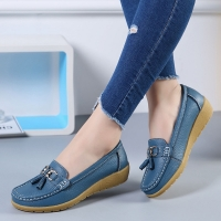 Boat shoes women fashion sneakers genuine leather shoes tassel fringe casual shoes round toe plus size 35-44 ladies flat