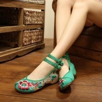 Spring Summer Size35-41 Woman Flat Shoes Vintage Flowers Embroidery Shoes Women Chinese Old Peking Casual Cloth Dancing Shoes