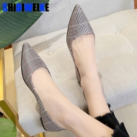 2020 Spring Brand Woman Flats Shoes Slip On Women Pointed Toe Single Shoes Ladies shoes Footwear Zapatos Mujer Plus Size Gray