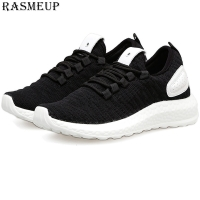 RASMEUP Plus Size 43 Women Men Lightweight Sneakers 2019 Summer Knit Breathable Women's Trainers Soft Couple Walking Shoes white