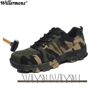 2020 New Men's Plus Size Outdoor Steel Toe Cap Military Work & Safety Boots Shoes Men Camouflage Army Puncture Proof Boots