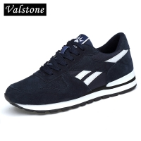 Valstone Men's Genuine leather sneakers Breathable casual shoes non-slip outdoor walking shoes light weight Rubber sole lace-up