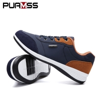 2019 Autumn New  Men Shoes Lace-Up Men Fashion Shoes Microfiber Leather Casual Shoes Brand Men Sneakers Winter Men FLats