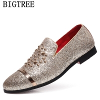 Italian Fashion Glitter Loafers Men New Arrival 2020 Coiffeur Wedding Dress Formal Shoes Men Elegant Party Shoes Men Classic