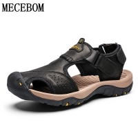 Summer Sandals Men Genuine Leather Casual Shoes Man Roman Style Beach Sandals Slippers size 39-46 sandalias hombre