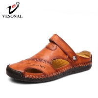 VESONAL Summer Genuine Leather Out door Shoes Men Sandals Handmade Classic For Male Soft Walking Beach Sandalias Sandal Slides