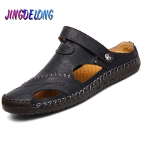 Classic Summer Men's Sandals Quality Genuine Leather Breathable Male Outdoor Beach Slippers Soft Comfortable Men's Beach Sandals