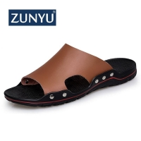 ZUNYU Men Slippers Summer Flat 2019 Summer Man Shoes Breathable Beach Slippers Split Leather Flip Flops Mens Slippers Size 38-48